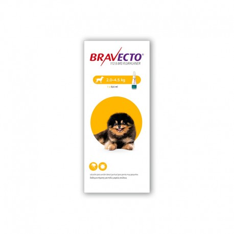 Bravecto Spot On 112,5Mg 1Pip 2-4,5Kg XS Amarillo