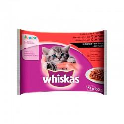 Whiskas 4Pack Junior Seleccion Carnes 13X4X100Gr