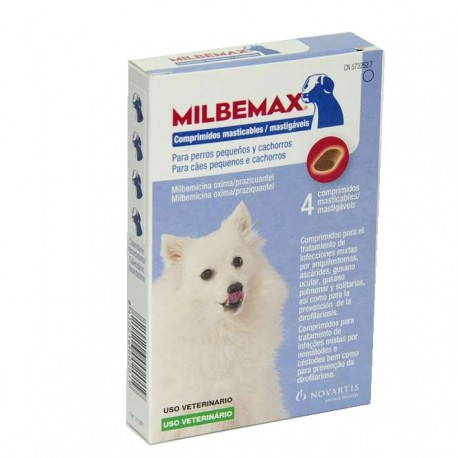 Milbemax 25/2,5 Mg Perro Peq 4 Comp Masticable