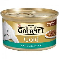 Gourmet Gold Bocadi Salsa con Salmon Pollo 24X85Gr