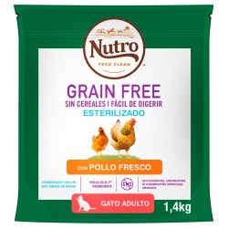 Nutro GF Esteriliz.Gato Adul.Pollo 1,4Kg PVPR 9,99